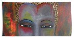 Bath Towel featuring the painting Grey Buddha In A Circular Background by Prerna Poojara