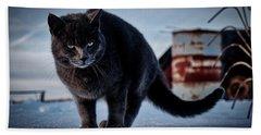 Grey Cat, Grey Mood Hand Towel