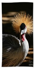 Grey Crowned Crane Hand Towel by Kathy Baccari