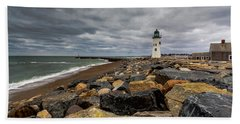 Grey Day At Scituate Lighthouse Bath Towel