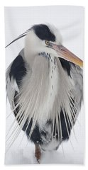 Grey Heron In The Snow Bath Towel