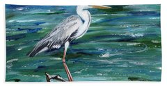 Grey Heron Of Cornwall -painting Hand Towel