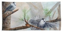 Grey Jays In A Jack Pine Hand Towel