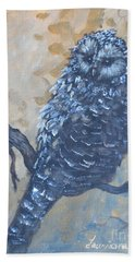 Grey Owl1 Bath Towel by Laurianna Taylor