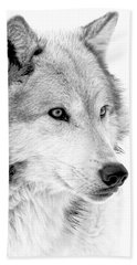 Grey Wolf Profile Hand Towel by Athena Mckinzie