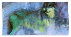 Grey Wolves In Snow Hand Towel