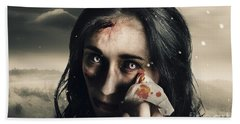 Grim Face Of Horror Crying Tears Of Blood Hand Towel