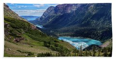 Grinell Hike In Glacier National Park Bath Towel by Andres Leon