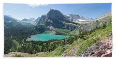 Grinnell Lake Panoramic - Glacier National Park Bath Towel