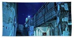 Gritty Dark Chicago City Street Under Industrial Bridge Viaduct At Night Bath Towel