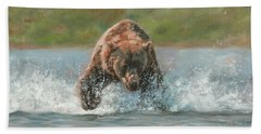Grizzly Charge Hand Towel by David Stribbling