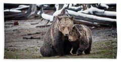 Grizzly Cub Cuddling With Mother Bath Towel