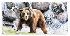 Grizzly Falls Hand Towel by Steve McKinzie