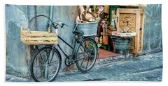 Grocery Delivery Bicycle On Corner In Florence Hand Towel