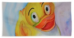 Hand Towel featuring the painting Groovy Ducky by Beverley Harper Tinsley