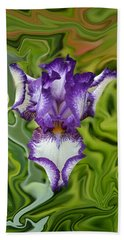 Groovy Purple Iris Bath Towel by Rebecca Margraf