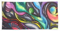 Groovy Series Titled My Hippy Days  Bath Towel by Chrisann Ellis
