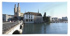 Hand Towel featuring the photograph Grossmunster, Wasserkirche And Munsterbrucke - Zurich by Travel Pics