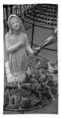 Grotto Of Our Lady Of Lourdes Statue  Hand Towel