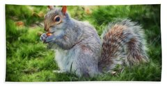Hand Towel featuring the photograph Ground Squirrel by Pennie  McCracken