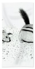 Hand Towel featuring the drawing Ground Squirrels by Lynn Quinn