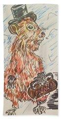 Groundhog Day Hand Towel by Geraldine Myszenski