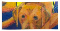 Bath Towel featuring the painting Growing Puppy by Donald J Ryker III