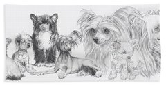Bath Towel featuring the drawing Growing Up Chinese Crested And Powderpuff by Barbara Keith
