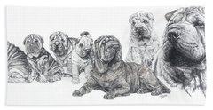Bath Towel featuring the drawing Growing Up Chinese Shar-pei by Barbara Keith