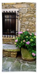 Groznjan Istrian Hill Town Stonework And Flowerpot - Istria, Croatia Bath Towel