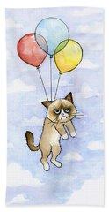 Grumpy Cat And Balloons Hand Towel