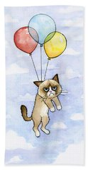 Grumpy Cat And Balloons Bath Towel