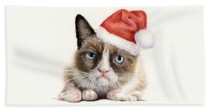 Grumpy Cat As Santa Bath Towel