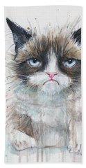 Grumpy Cat Watercolor Painting  Hand Towel by Olga Shvartsur