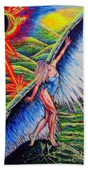 Hand Towel featuring the painting Guardian #2 by Viktor Lazarev