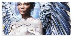 Hand Towel featuring the painting Guardian Angel2 by Suzanne Silvir