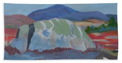 Hand Towel featuring the painting Guardian Rock by Francine Frank
