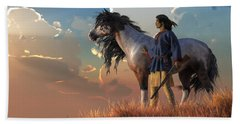 Guardians Of The Plains Hand Towel by Daniel Eskridge
