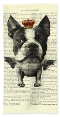 Boston Terrier With Wings And Red Crown Vintage Illustration Collage Bath Towel