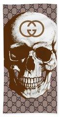 Gucci Poster Gucci Print Gucci Skull Brown Print Bath Towel