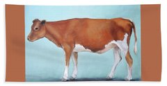 Guernsey Cow Standing Light Teal Background Hand Towel