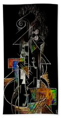 Guitar Abstract In Black Hand Towel
