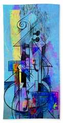 Guitar Abstract In Blue Bath Towel