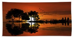 Guitar Landscape At Sunset Hand Towel