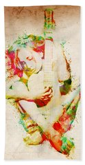 Guitar Lovers Embrace Hand Towel by Nikki Smith