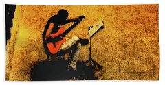 Guitar Player In Arles, France Bath Towel
