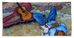 Bath Towel featuring the painting Guitar Doggy And Me In Wine Country by Xueling Zou