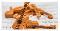 Guitars On Musical Notes Sheet Hand Towel