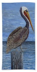 Gulf Coast Brown Pelican Hand Towel