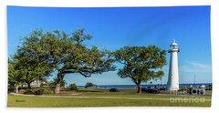 Gulf Coast Lighthouse Seascape Biloxi Ms 3663b Hand Towel